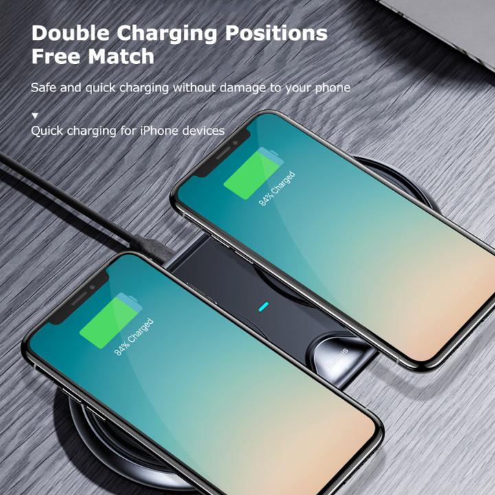 Đế sạc nhanh không dây Baseus WXXHJ-01 cho iPhone 8/ iPX /iP2018/ Samsung S8/ S9/ Note 8/9 (10W,Qi Wireless Quick Charger) - Hàng nhập khẩu