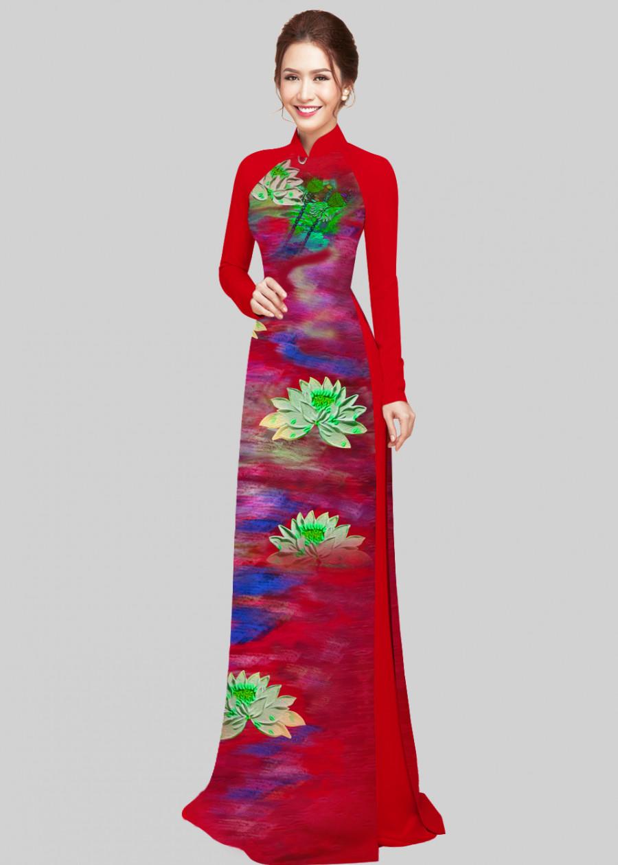 Vải áo dài in 3d hoa sen Xuân Hằng - đỏ