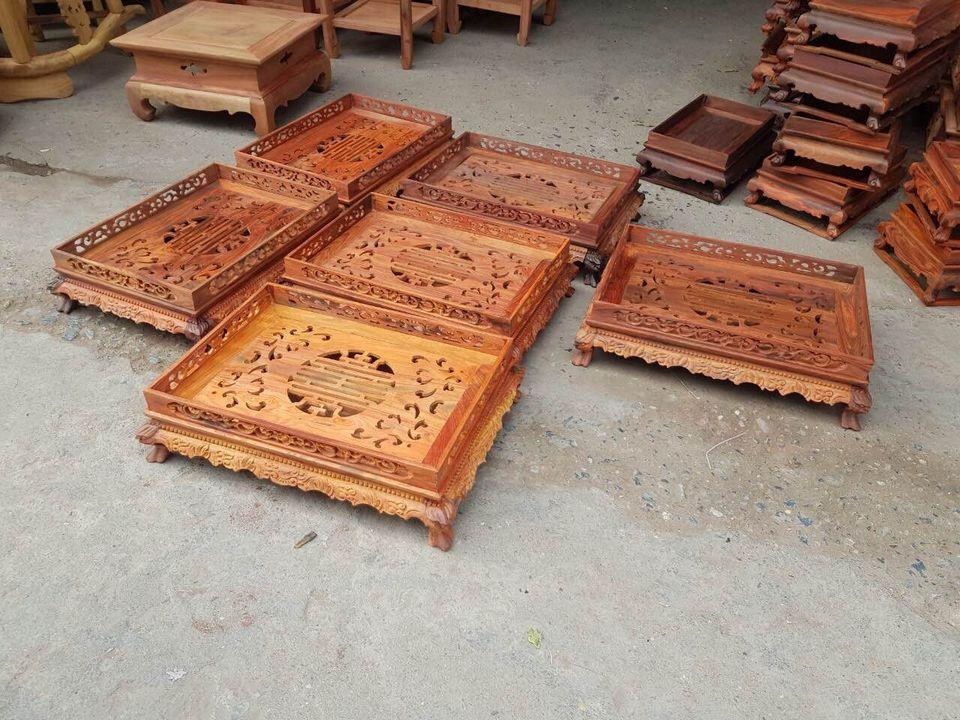 Khay trà rồng gỗ Trắc ta hàng mộc cực độc đáo và đẹp
