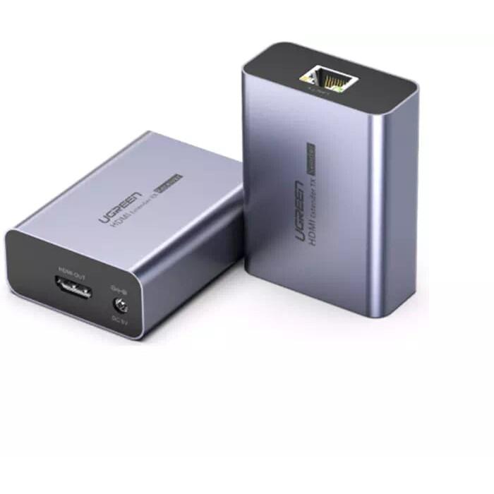 Bộ kéo dài HDMI qua cáp mạng Cat5 6 có điều khiển IR 50M màu Đen Ugreen 196KD50739CM Hàng chính hãng