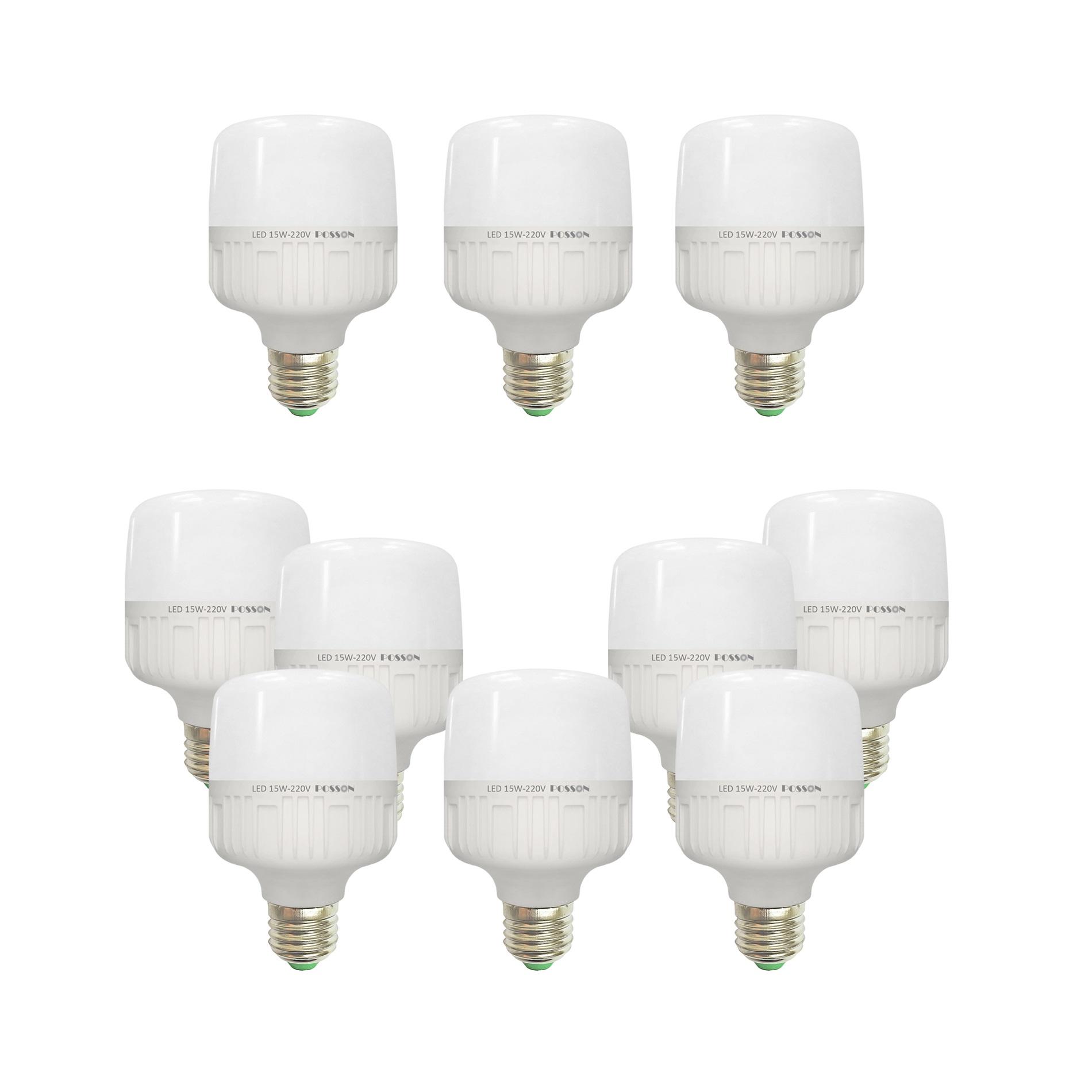 10 Bóng đèn Led trụ 15w siêu sáng tiết kiệm điện kín chống nước Posson LC-H15x