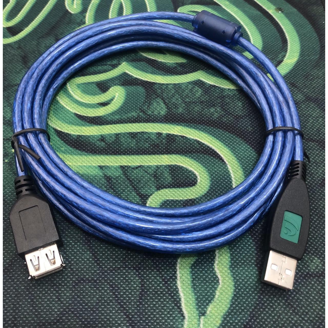 Cáp usb nối dài màu xanh chống nhiễu dài 3 mét