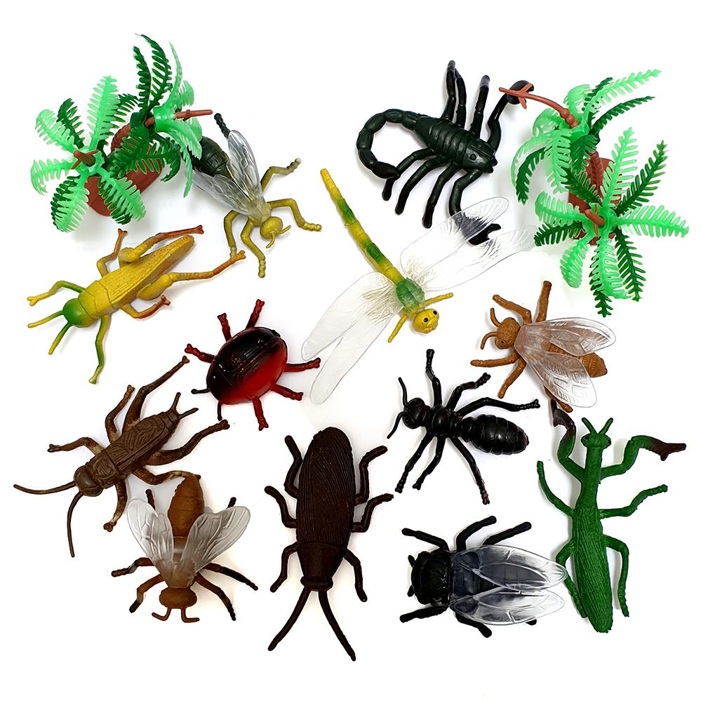 Bộ mô hình 12 côn trùng bằng nhựa PVC đặc ruột kèm cây trang trí tặng 01 vòng đeo tay cho bé Twisty Petz dễ thương mẫu ngẫu nhiên