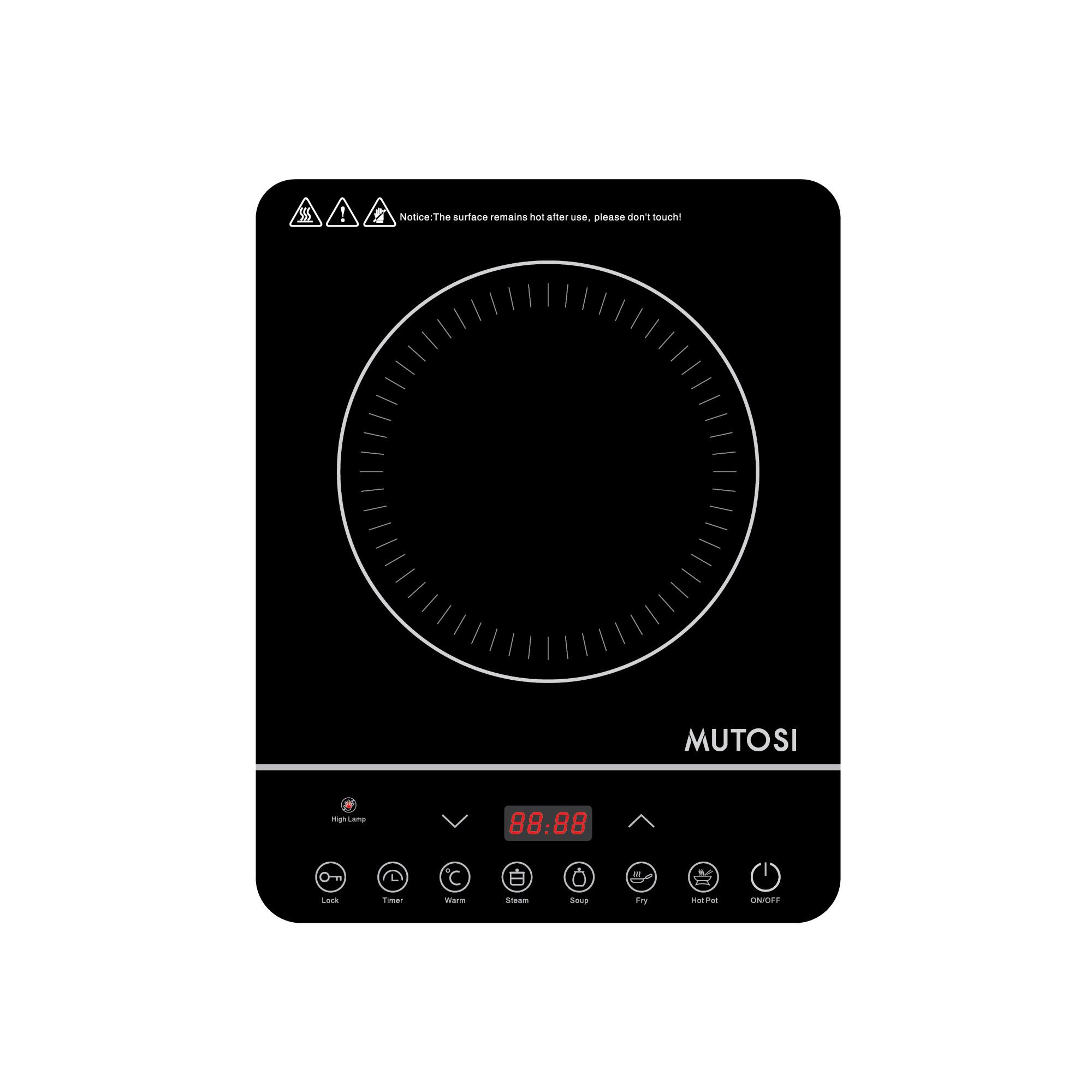 Bếp điện từ đơn Mutosi MI-58 (Đen) - Công suất đạt 2000W - Hàng chính hãng