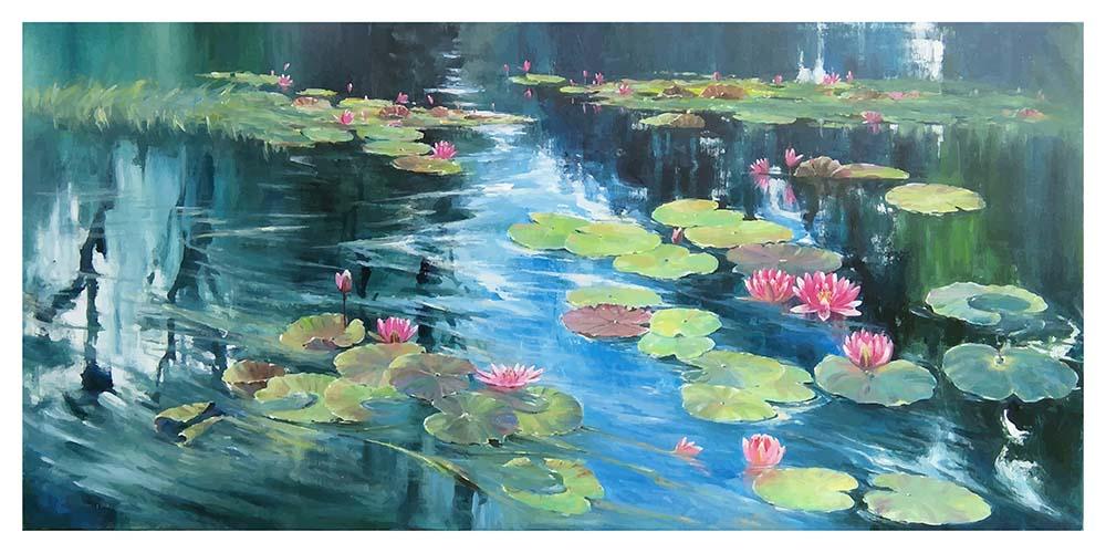 Tranh canvas phong cách màu nước (watercolor) Ao sen - WT008