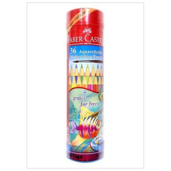 Chì Màu Nước Fish 115936-36 Màu Dài (Hộp Thiếc Tròn) Faber Castell