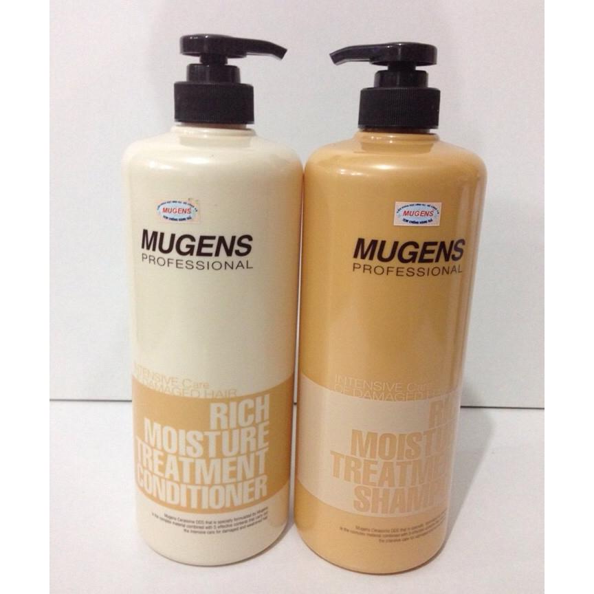 Bộ dầu gội - dầu xả dưỡng chất Mugens Rich Moisture Treatmen 2x1000ml + Móc khóa