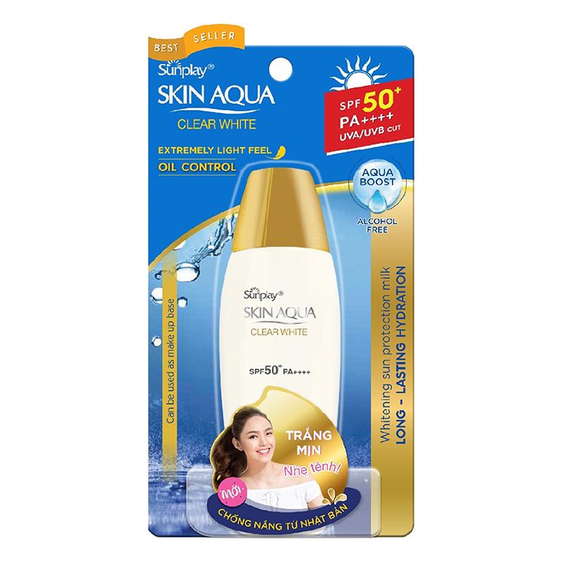 Sữa Chống Nắng Hằng Ngày Dưỡng Trắng Sunplay Skin Aqua Clear White SPF 50+ PA++++ (55g) + Tặng Sữa Chống Nắng Hằng Ngày Sunplay Skin Aqua
