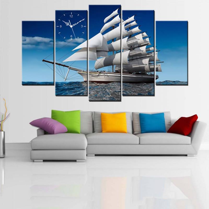 Tranh treo tường, tranh đồng hồ trang trí PP_ NT444 bộ 5 tấm ghép thuận buồm xuôi gió