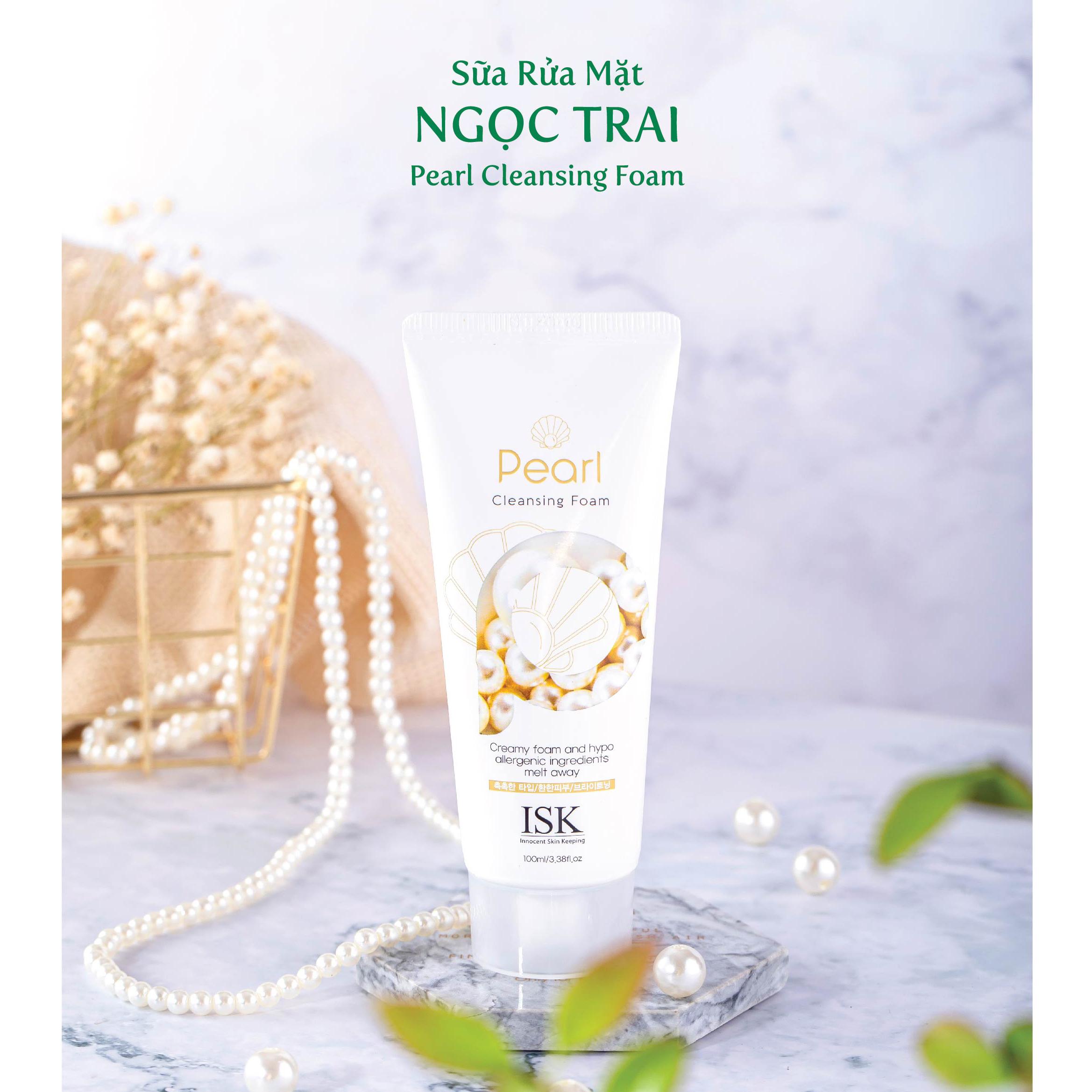 Sữa rửa mặt Ngọc Trai trắng da sạch nhờn ISK PEARL Hàn quốc 100ml
