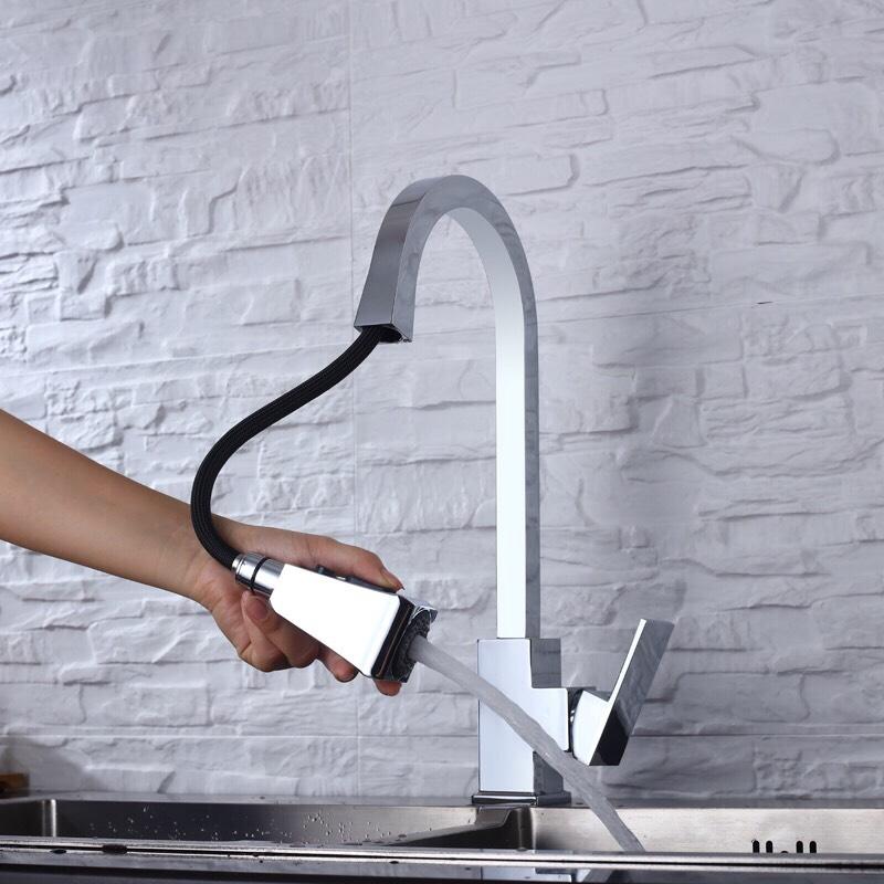 Vòi rửa bát rút vuông 3 chế độ rửa