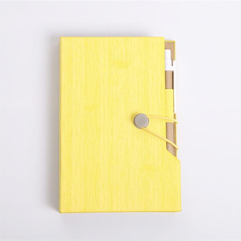 Sổ vở M&G bìa cứng vân gỗ kèm bút giấy note A6 10,3x15,5cm