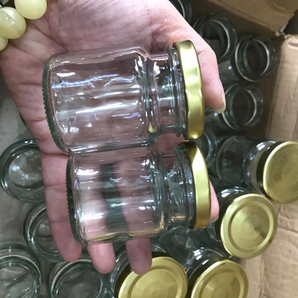 combo 20 hũ thủy tinh 100ml nắp thiếc vàng vặn – hủ 100ml đựng yến chưng, dầu dừa, gia vị