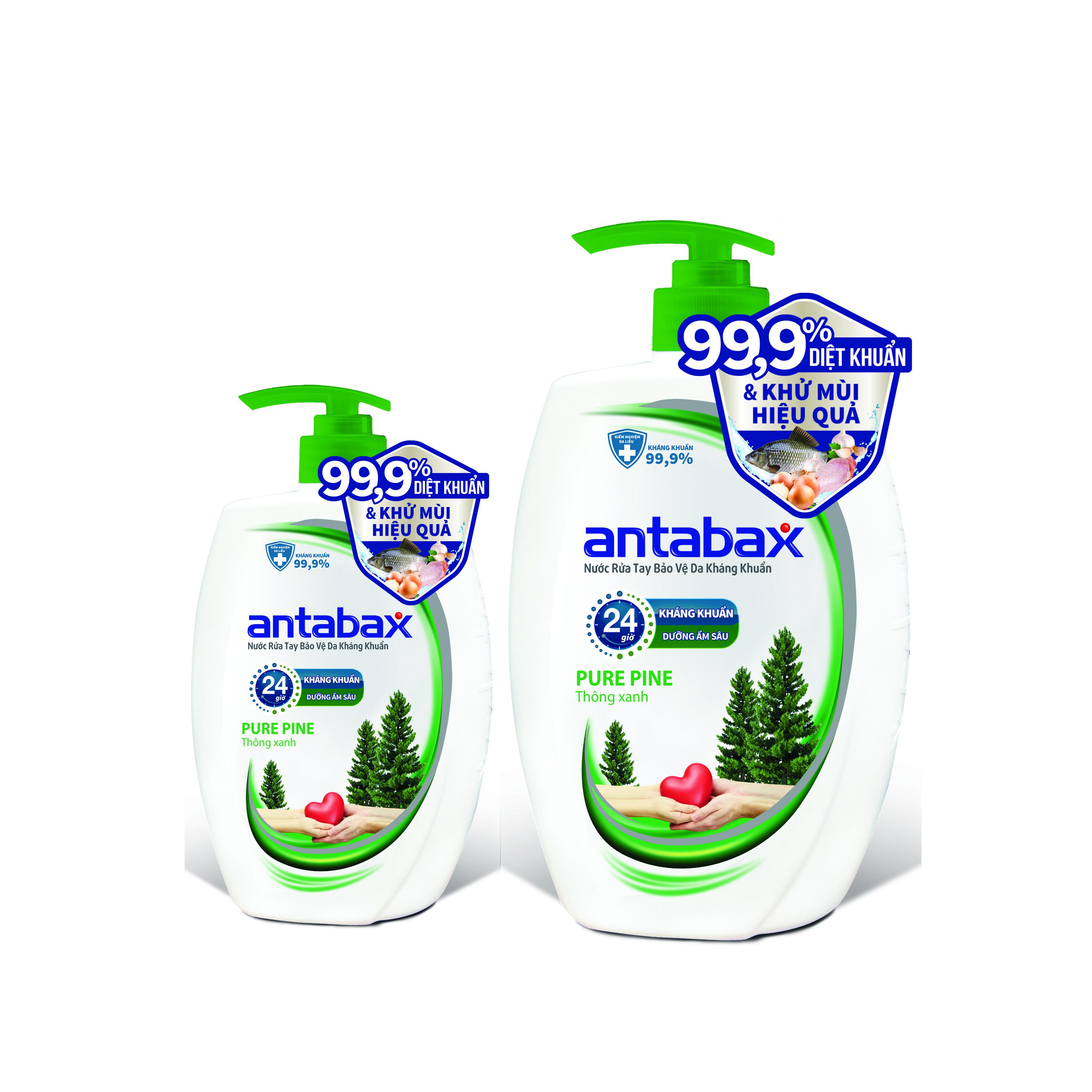 Combo Nước Rửa Tay Kháng Khuẩn ANTABAX 250ml & 500ml - Loại bỏ 99.9% vi khuẩn (TẶNG kèm 12 gói sữa tắm  bỏ túi tiện lợi)