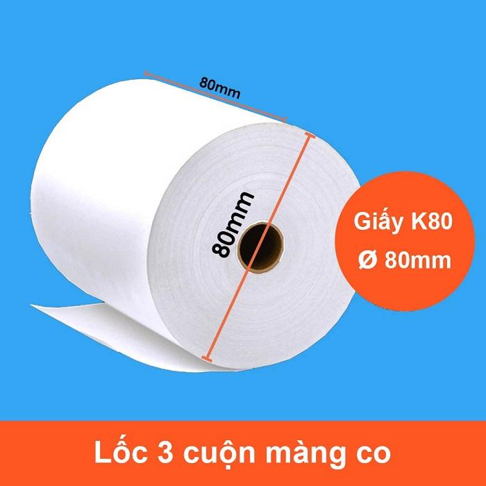 [ Set 10 cuộn] Giấy nhiệt in bill K80 phi 80 - Hàng nhập khẩu