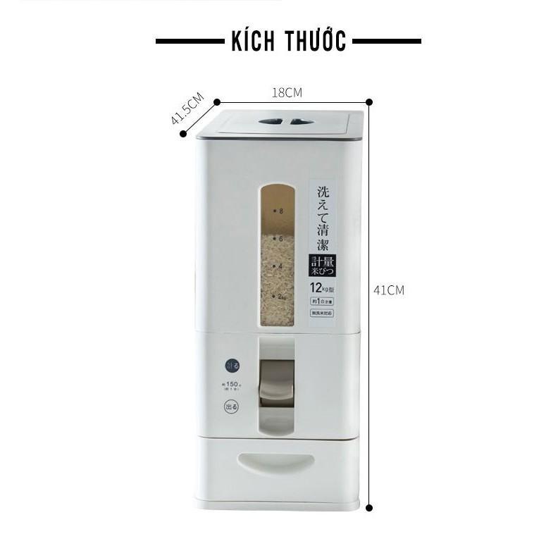 Thùng đựng gạo nhựa PP thông minh phong cách Nhật Bản- Chống ẩm, chống côn trùng- Tiện lợi, dễ sử dụng