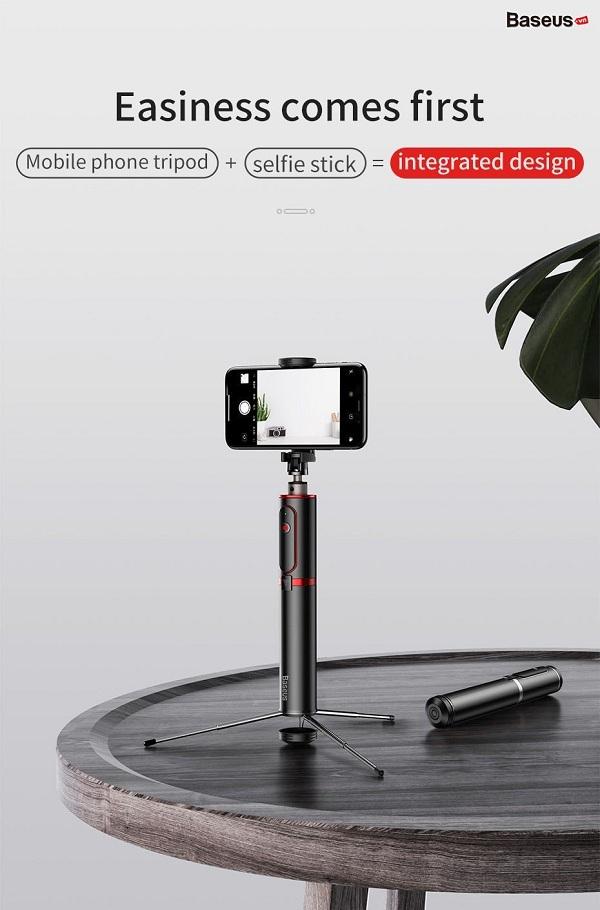 Gậy Selfie Chụp Hình Tự Sướng Tích Hợp Tripod Hỗ Trợ Live Stream Baseus Fully Folding Selfie Stick Kèm Remote Bluetooth Baseus - Hàng Chính Hãng