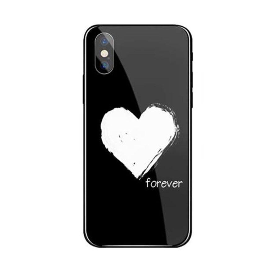 Ốp lưng mặt kính sang trong cho iPhone 78 - Love Forever - đen - Hàng Chính Hãng