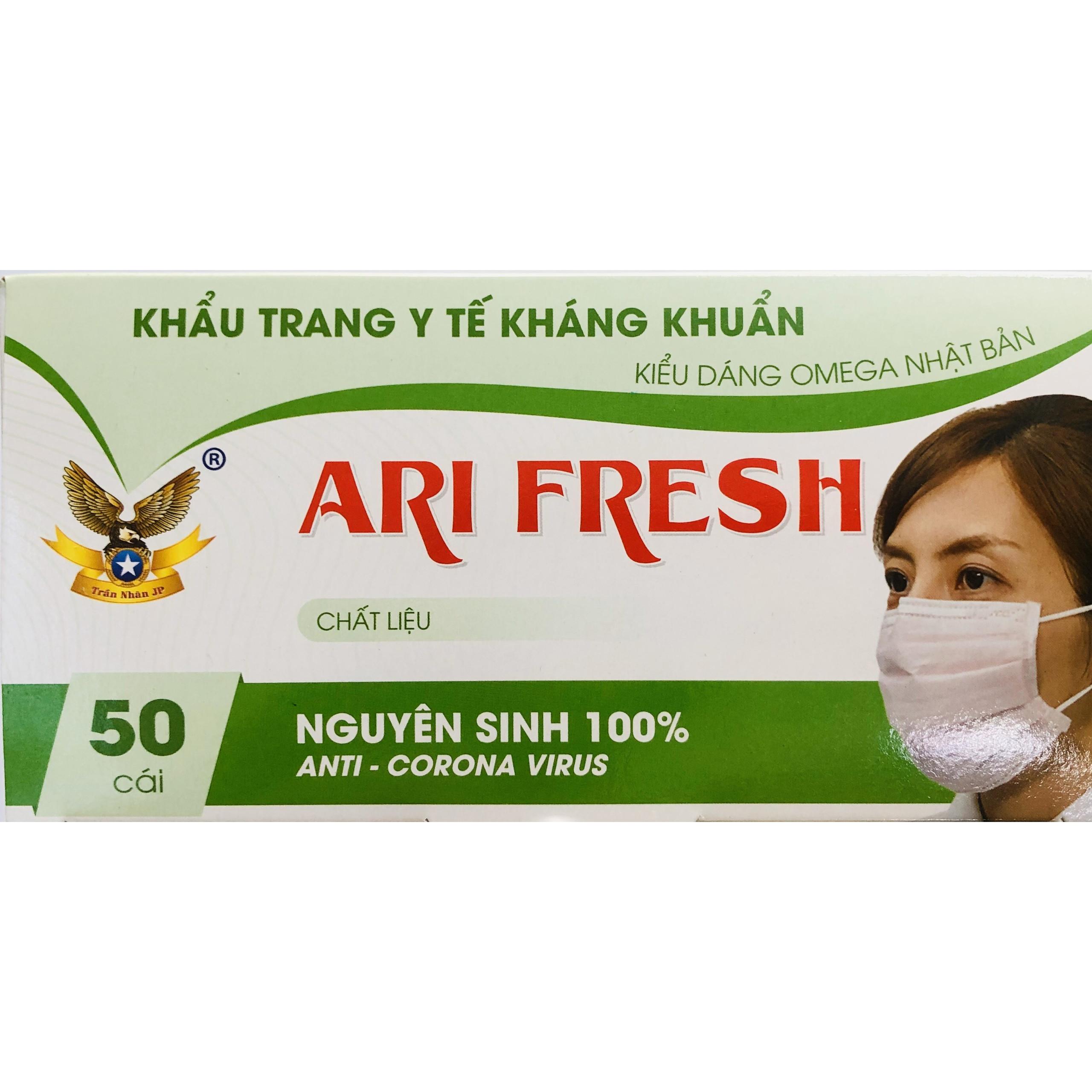 Khẩu trang y tế cao cấp 4 lớp kháng khuẩn chống thấm  Ari Fresh hộp 50 cái