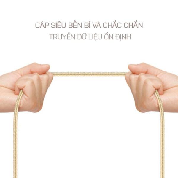 Dây cáp dù sạc nhanh Ossan Lightning 2m SUMO-C1I200 - Vàng - Hàng Chính Hãng cho Iphone