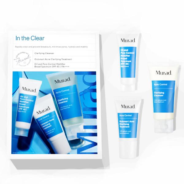 Bộ sản phẩm giảm mụn từ trong ra ngoài Pure Skin Clarifying Dietary Supplement và In The Clear Murad