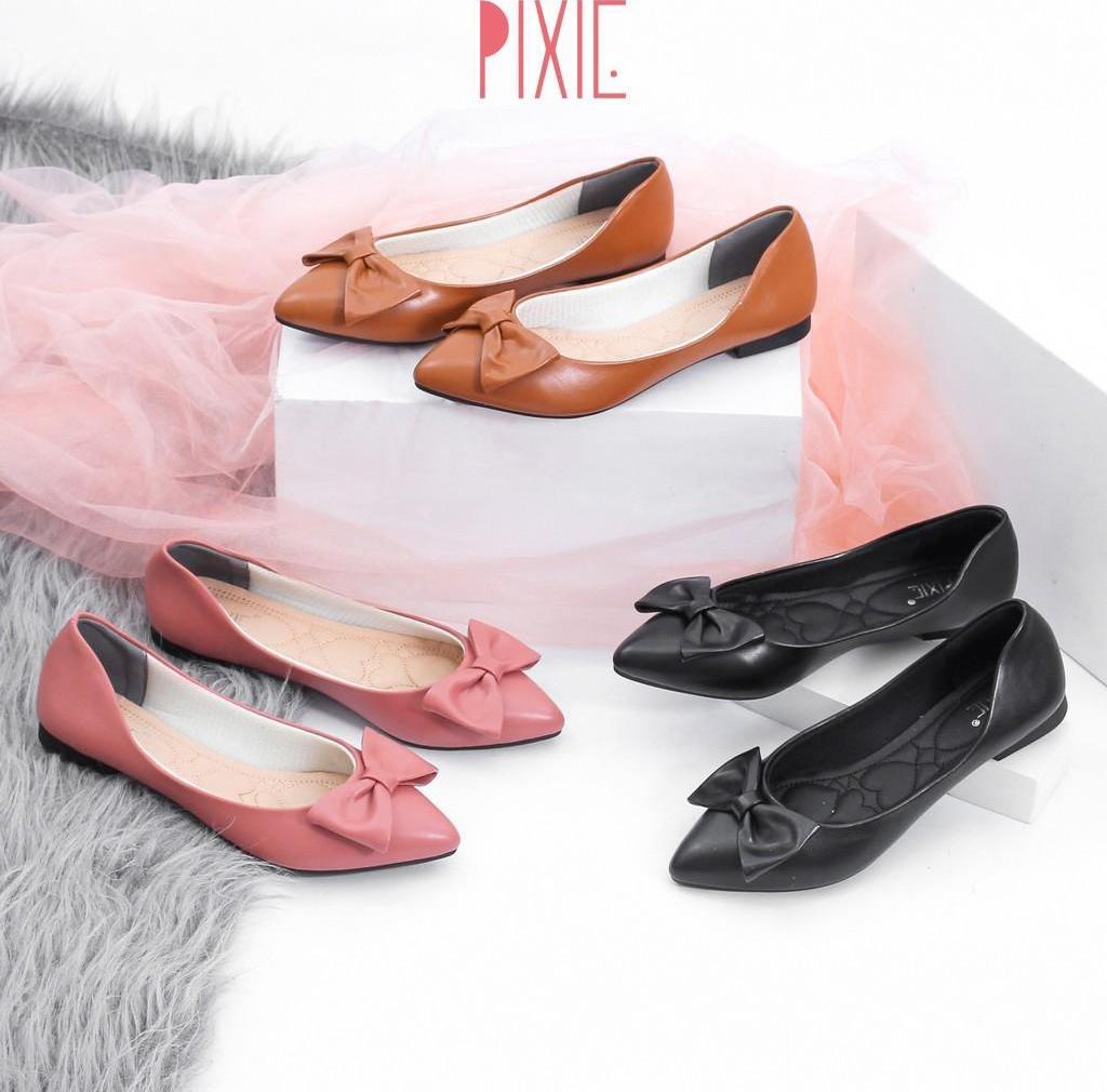 Giày Búp Bê Mũi Nhọn Đính Nơ Pixie X488