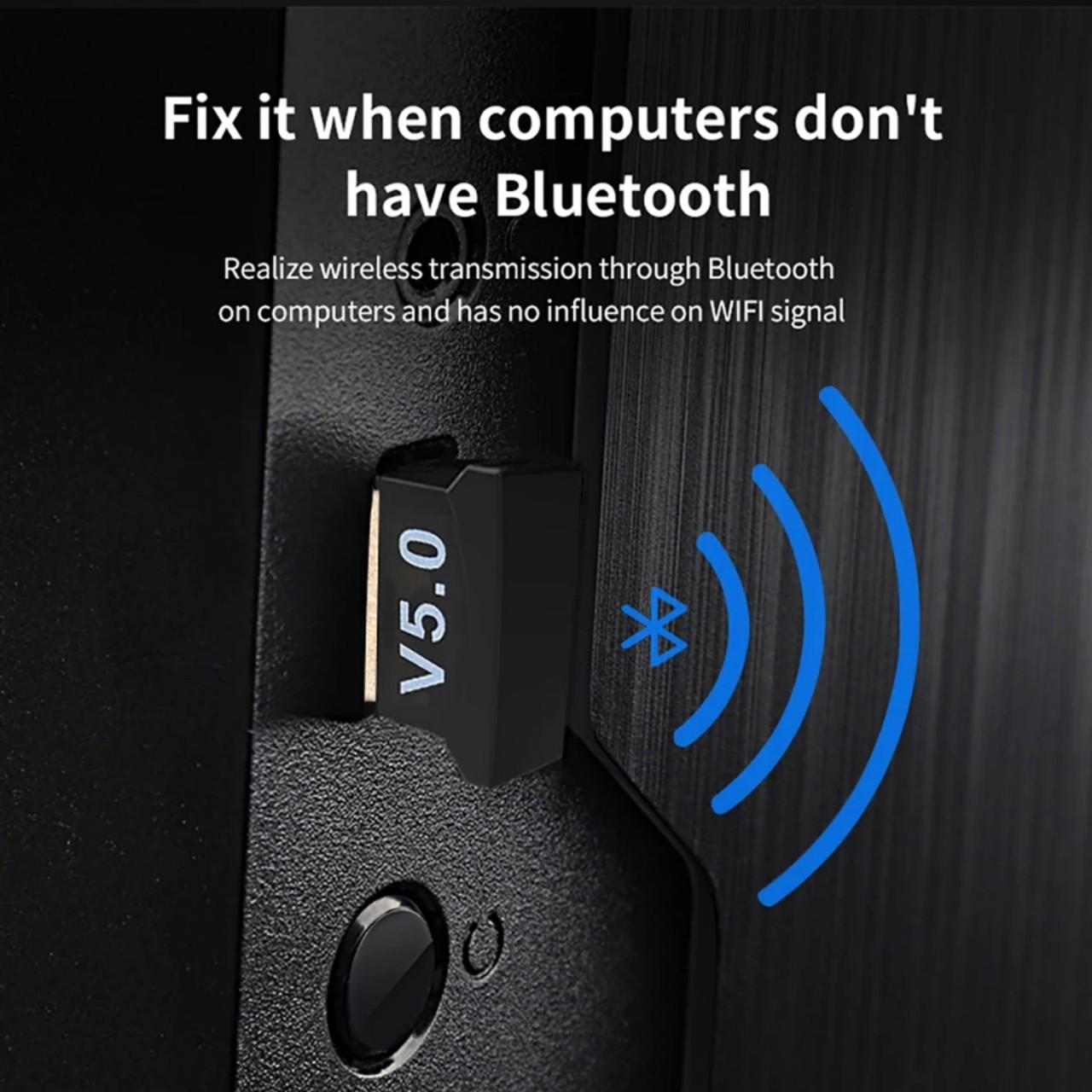 Bộ thu phát không dây Usb bluetooth 5.0 dùng cho máy tính laptop  D558