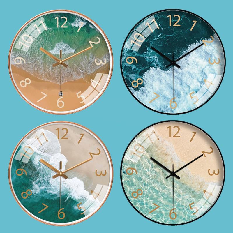 Đồng Hồ Treo Tường Cao Cấp Kim Trôi, Đồng Hồ Trang Trí - Phong Cảnh Thiên Nhiên - Biển - Tặng Kèm 1 Pin và 1 Đinh Treo Tiện Dụng - 30cm