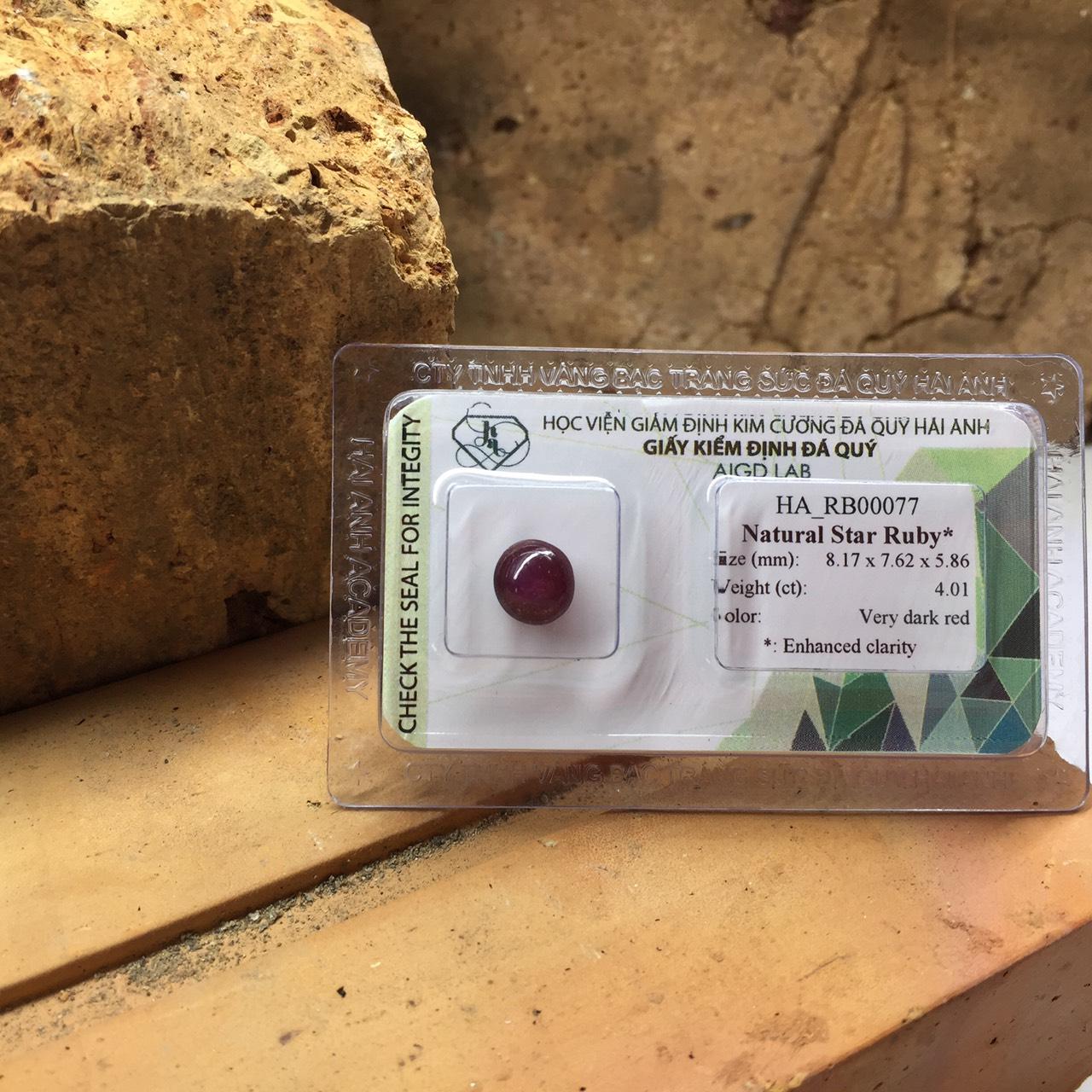 Viên đá Ruby sao thiên nhiên_HA-RB00077