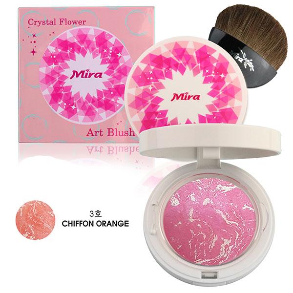 Phấn Má Hồng Mira Crystal Flower Art Blusher Hàn Quốc 10g No.3 Chiffon Orange tặng kèm móc khóa