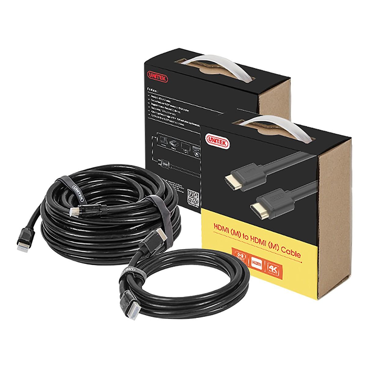 Dây cáp HDMI Unitek 10m Full HD - Hàng Chính hãng (Tặng kèm tai nghe điện thoại)