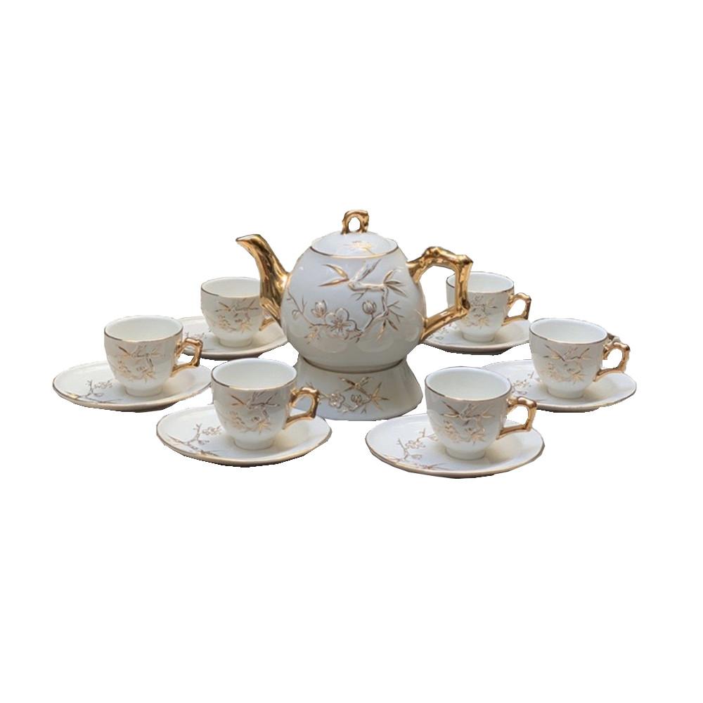 Bộ tách trà sứ bình tròn hoa khắc nổi