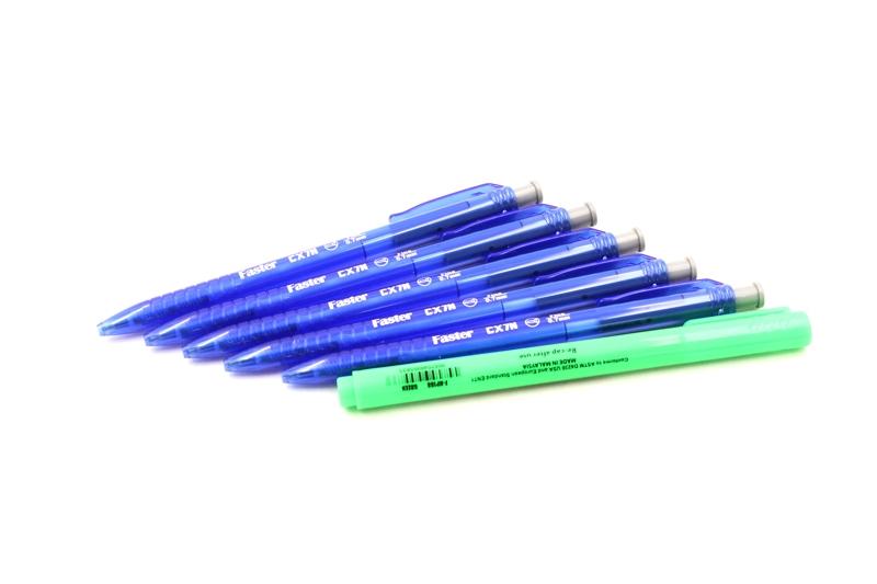 Vỉ 5 Bút Bi CX7N Mực Xanh + 1 Bút Dạ HL188