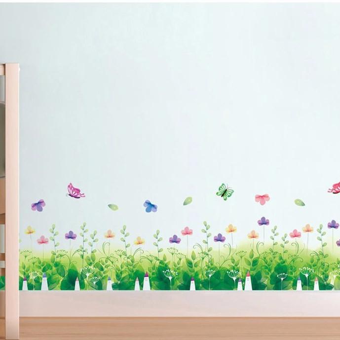 Decal dán tường chân tường hoa và bướm - HP102