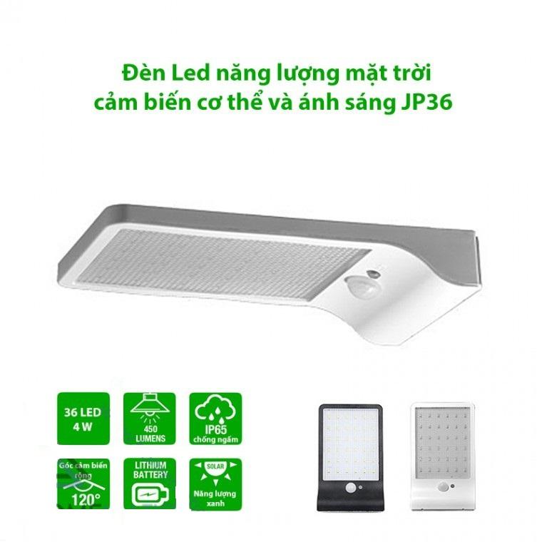 Đèn Led năng lượng mặt trời cảm biến cơ thể và ánh sáng JP36
