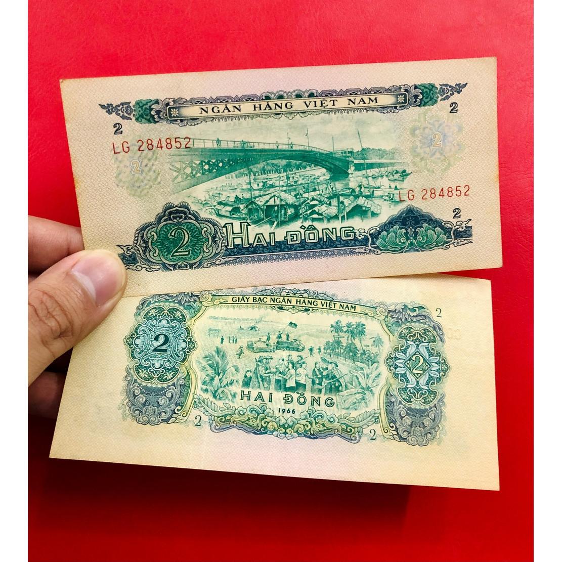 Tờ 2 đồng xưa Việt Nam hình ảnh cầu Móng Sài Gòn