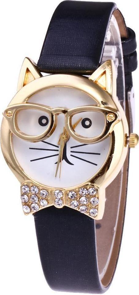 Đồng hồ nữ dây da hình mặt mèo đeo kiếng dễ thương - đen