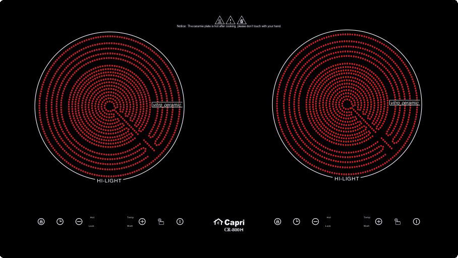 Bếp Hồng Ngoại Đôi Capri CR-800H - Hàng Chính Hãng, Sản Xuất Theo Công Nghệ Tiên Tiến Châu Âu, Tiết Kiệm Điện Và Thời Gian Nấu Tối Ưu