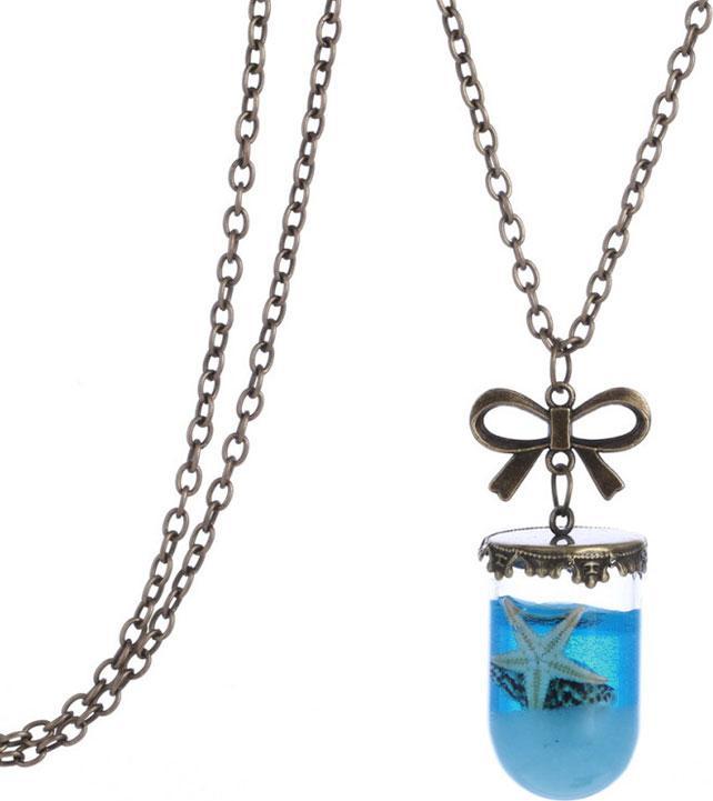Sea Ocean Glass Wishing Bottle Pendant Mermaid Tears Shell Star Necklace Jewelry Cylinder