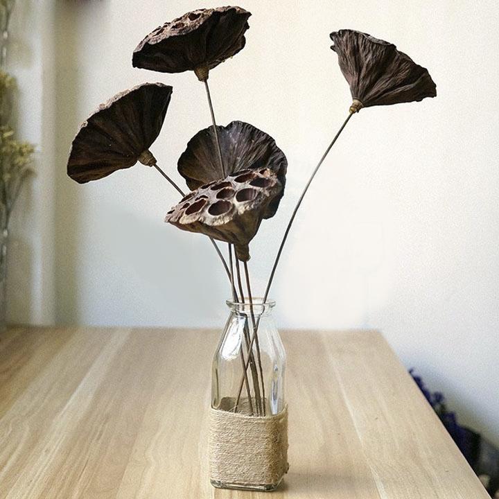 Bộ 2 Bình bông lọ cắm hoa thủy tinh vuông, quấn dây bố, thắt nơ xinh xắn, trang trí bàn làm việc.