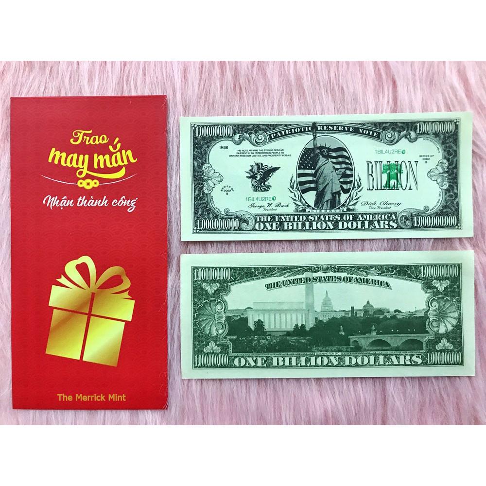 Tờ tiền 1 tỷ USD lưu niệm, tiền mệnh giá siêu khủng làm quà tặng phong thủy, dùng để sưu tầm , vật phẩm trưng bày, làm lộc may mắn - tặng kèm bao lì xì đỏ - The Merrick Mint