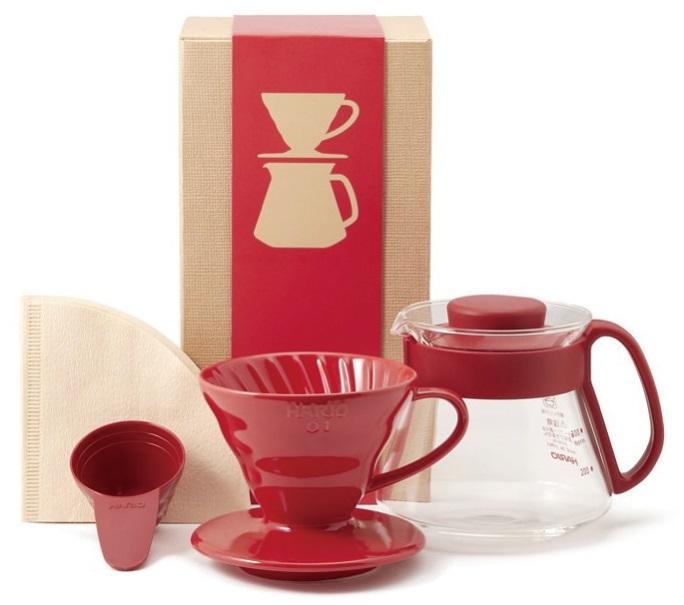 Bộ dụng cụ pha chế cà phê Hario V60 (gồm phễu lọc, bình đựng, muỗng đong và giấy lọc)