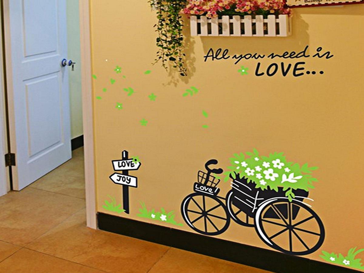 decal dán tường xe hoa xanh ay722