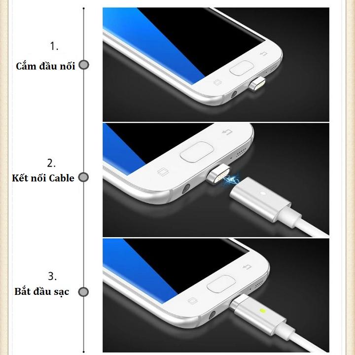 Cáp Sạc Nam Châm 3 Đầu Đa Năng Lightning,Micro USB,Type C