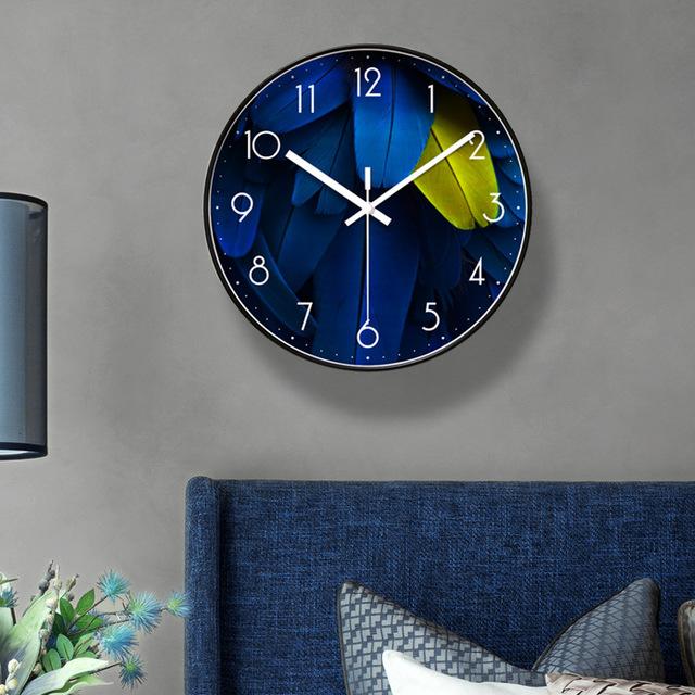 Đồng hồ treo tường trang trí LÔNG VŨ XANH loại 30cm - Kính phẳng - Kim trôi