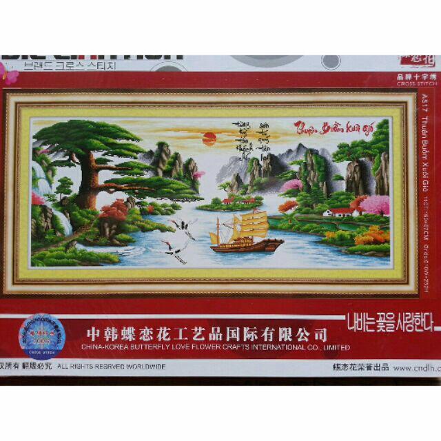 Tranh thêu chữ thập thêu kín Thuận Buồm Xuôi Gió (150*67cm) chưa thêu