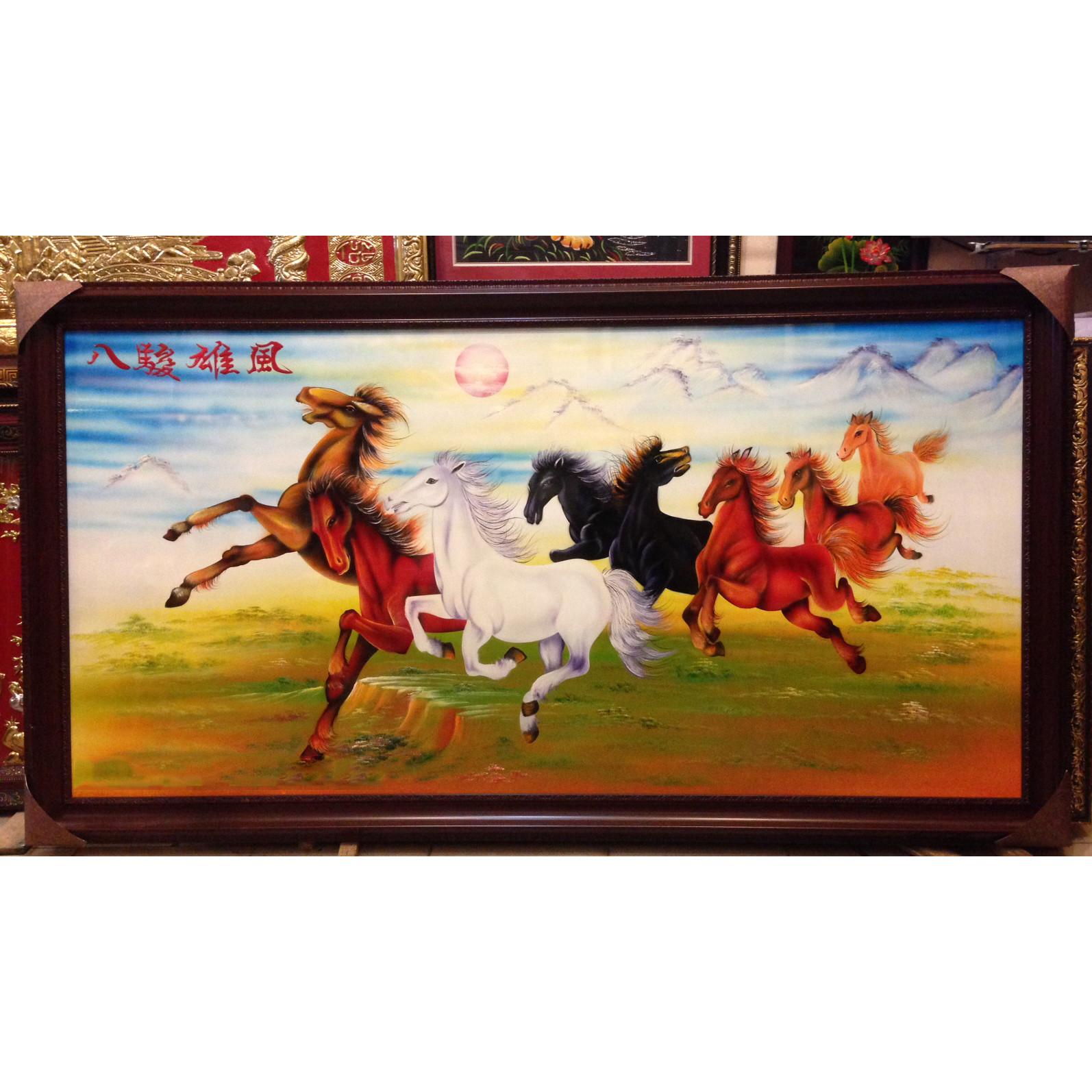 Tranh sơn mài , Bát Mã Hùng Phong -SM178