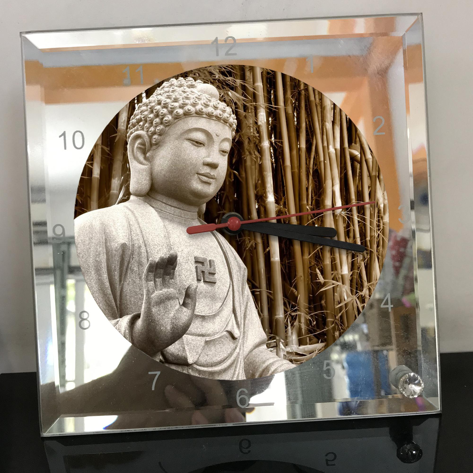 Đồng hồ thủy tinh vuông 20x20 in hình Buddhism - đạo phật (26) . Đồng hồ thủy tinh để bàn trang trí đẹp chủ đề tôn giáo