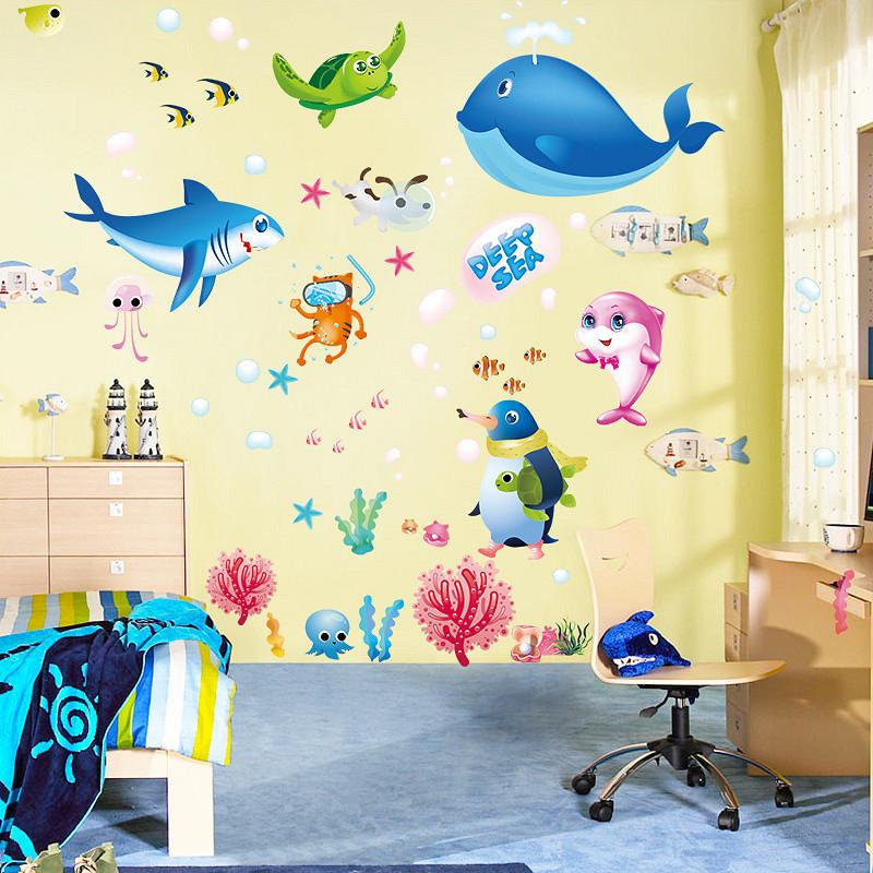 Decal dán tường thế giới cá ngộ nghĩnh cho bé ZOOYOO XL7225