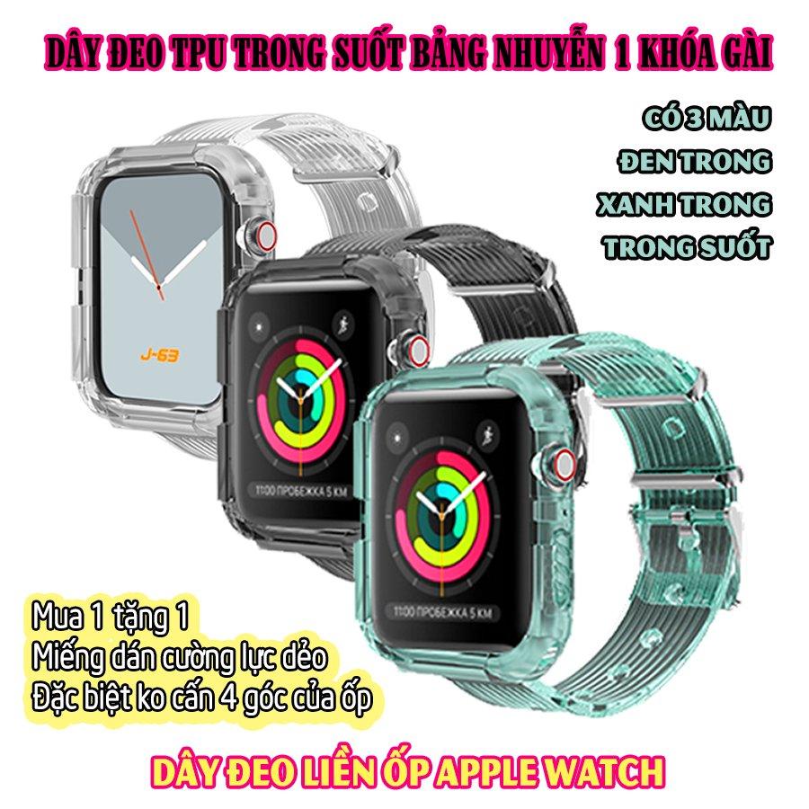 Dây Đeo liền ốp cho Apple Watch size 38/40/42/44mm TPU trong suốt nhuyễn 1 khóa gài_Trong Suốt (tặng dán KCL theo size)